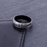 Zircon Inlaid Titanium Men's Engagement Ring