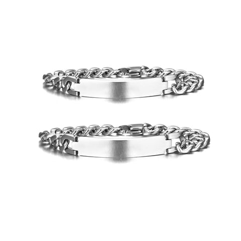 Personalized Stainless Steel Matching Bracelets Set for Couples