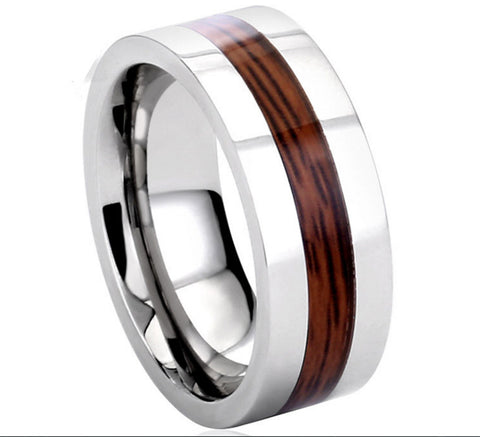 Personalized Stainless Steel Wood Ring
