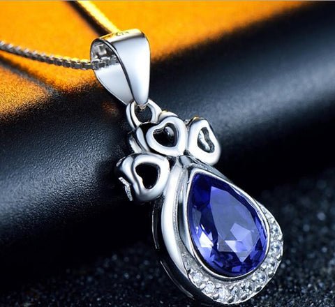Blue Teardrop Pendant Necklace