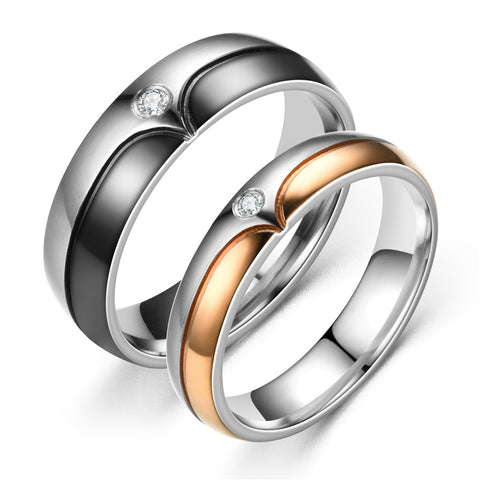 Round Cut Zircon Inlaid Rose Gold and Black Stainless Steel Couple Rings