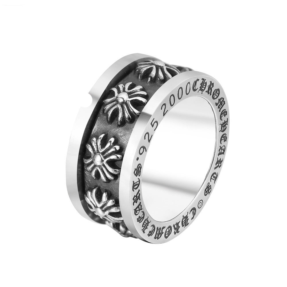 Retro Super Wide Titanium Steel Men's Ring