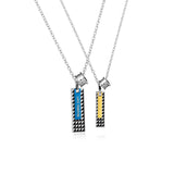 Personalized Grid Pattern Bars Titanium Steel Couple Necklaces