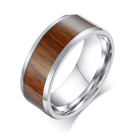 Wood Inlaid Enamel High Polished Stainless Steel Unisex Ring