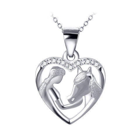Maid Feeding Horse Pendant Necklace