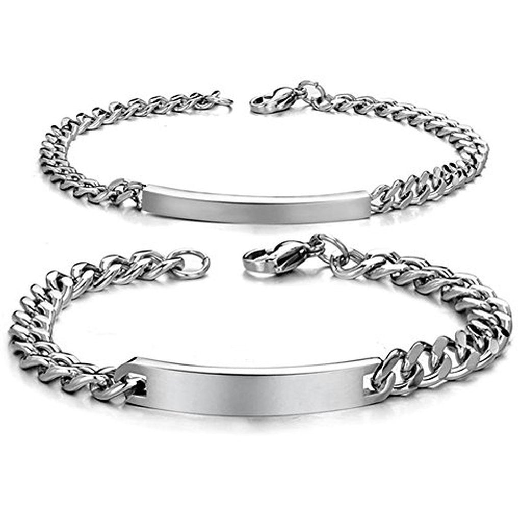 68071b48d0b1f Personalized His and Hers Stainless Steel ID Couple Bracelets - EverMarker