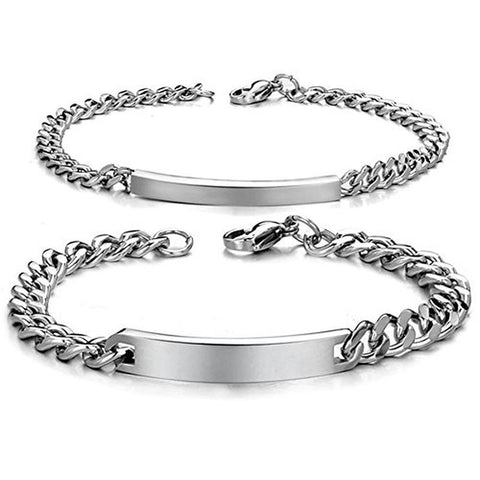 Personalized His and Hers Stainless Steel ID Couple Bracelets