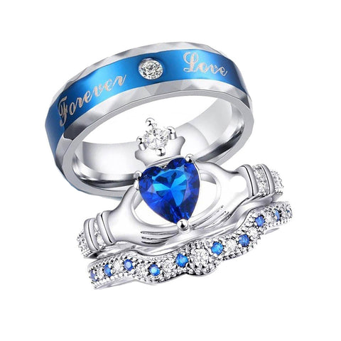 Sapphire Claddagh Blue Zircon Inlaid Engagement Wedding Ring Set