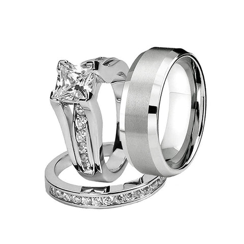Princess Cut Zircon Inlaid Stainless Steel Engagement Wedding Ring Set