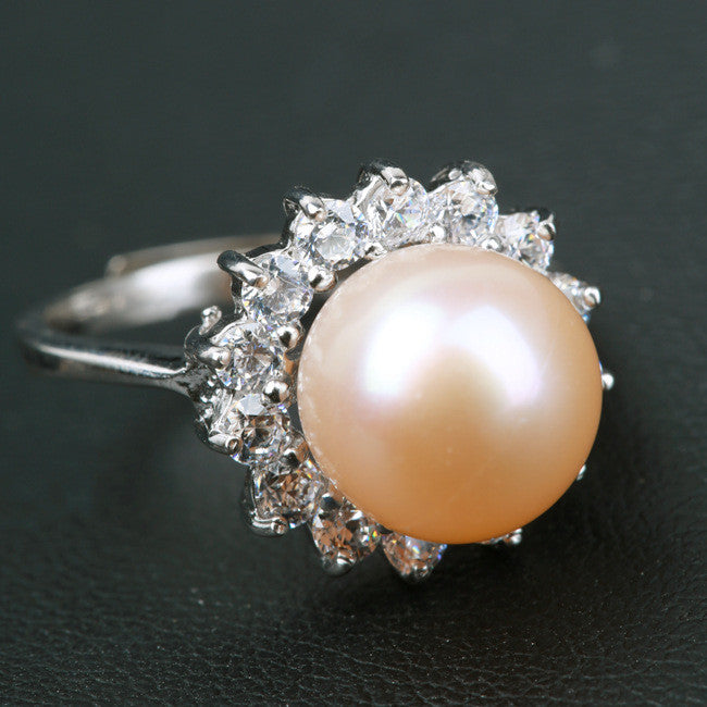Creative Sun Natural Pearl With Rhinestone Around Ring