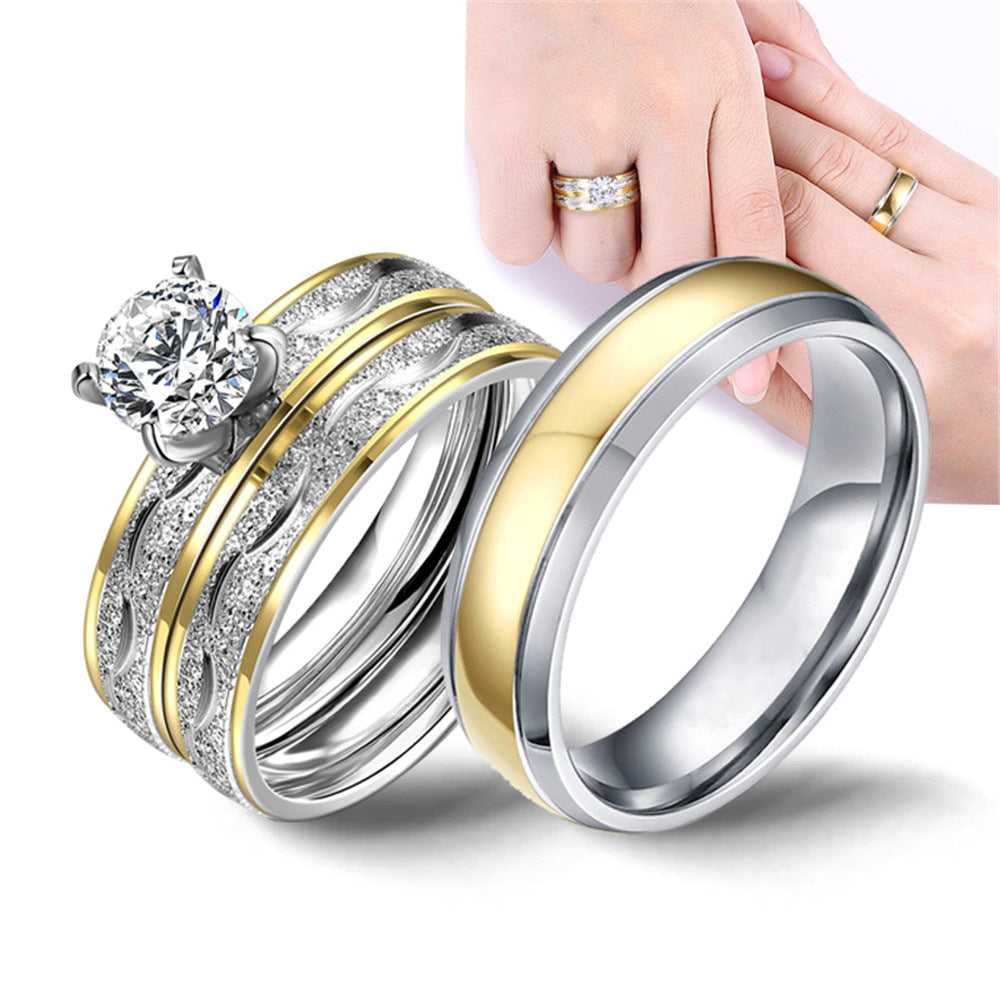 Brilliant Cut Zircon Stainless Steel Engagement Wedding Ring Set