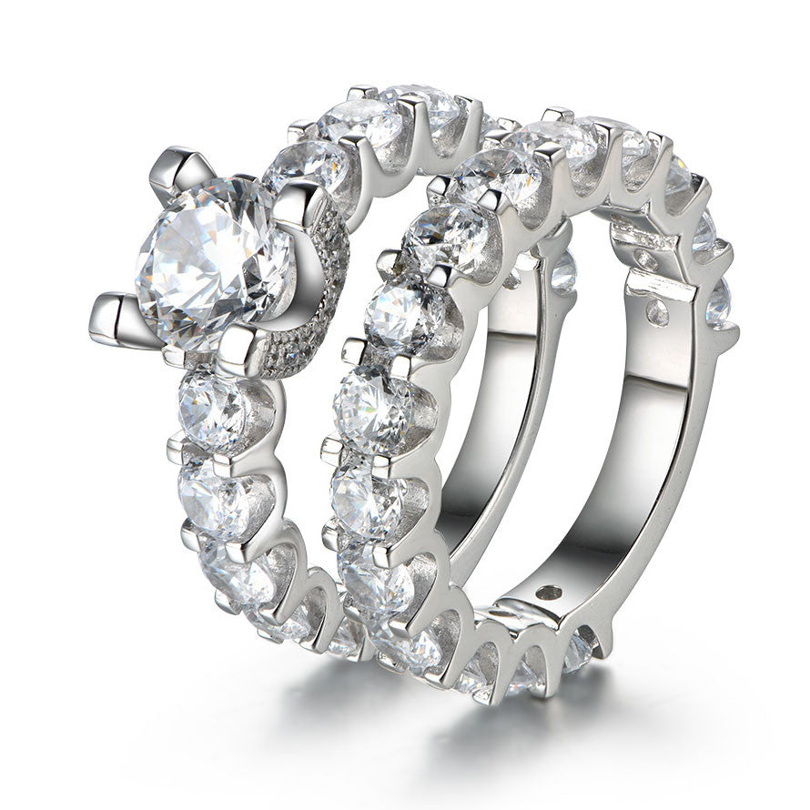 Sparkling Round Cut Created White Sapphire 925 Sterling Silver