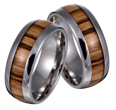 Stylish Stainless Steel Wood Grain Ring