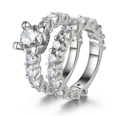 Sparkling Round Cut Created White Sapphire 925 Sterling Silver Diamond Wedding Ring Set