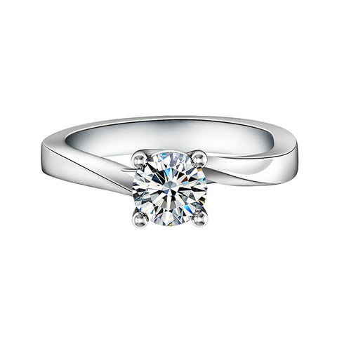 Climple Staggered Ring With Sole Zircon 925 Sterling Silver Statement Ring