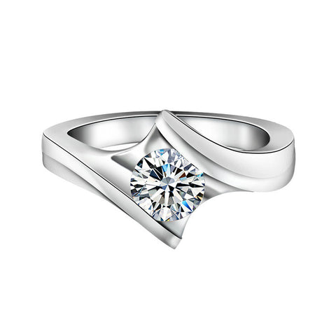 Elegant Diamond Pattern With Sole Round Zircon 925 Sterling Silver Statement Ring