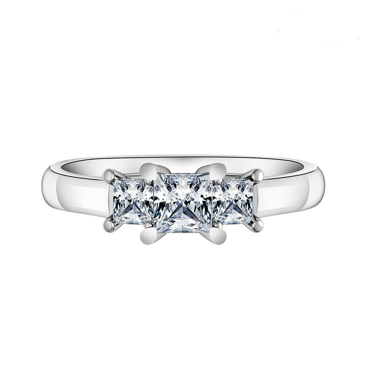 Elegant Triple Quadrate Zircon Lined With Geometry Hollow 925 Sterling Silver Statement Ring