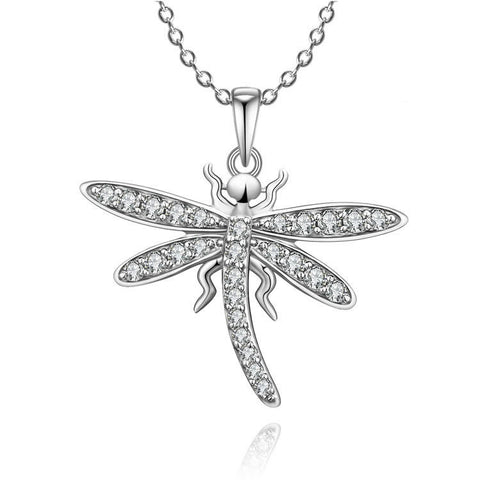 Catoon Dragonfly Pattern 925 Sterling Silver Pendant Necklace With Zircons Decorated