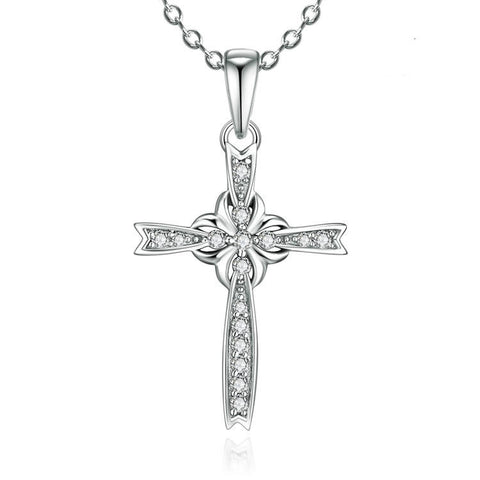 Elegant Flower and Crisscross Interweaving 925 Sterling Silver Pendant Necklace