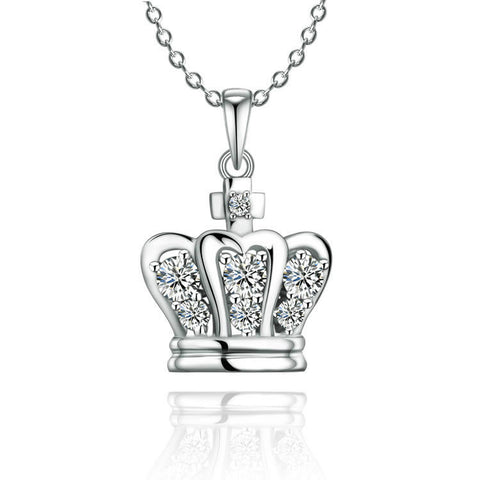 Fashion Crown Pattern With Zircons Decorated 925 Sterling Silver Pendant Necklace