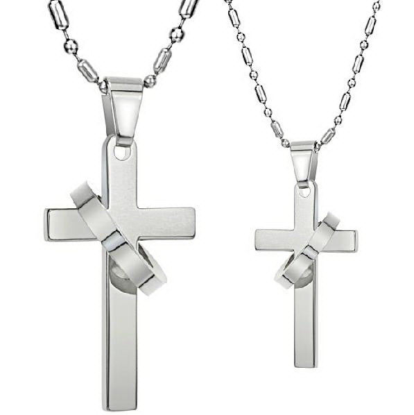 0f51157261 Personalized Cross Titanium Steel Lover Couple Necklaces. $49.95. Brand  EverMarker