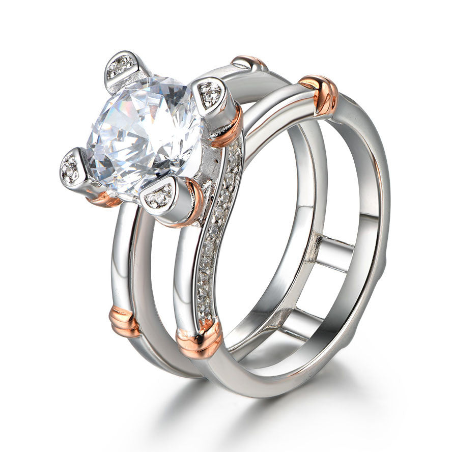 Unique Interchangeable Created White Sapphire 925 Sterling SIlver