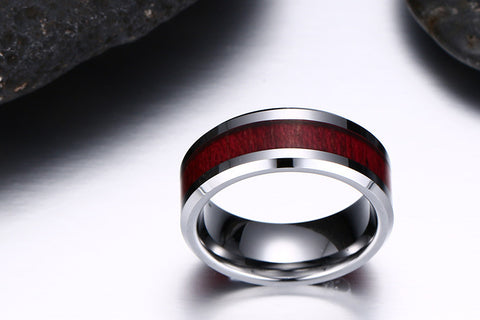 Plain Tungsten Steel Ring With Wood Inlay