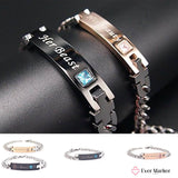 Personalized |His Beauty| and |Her Beast| Titanium Couple Bracelets