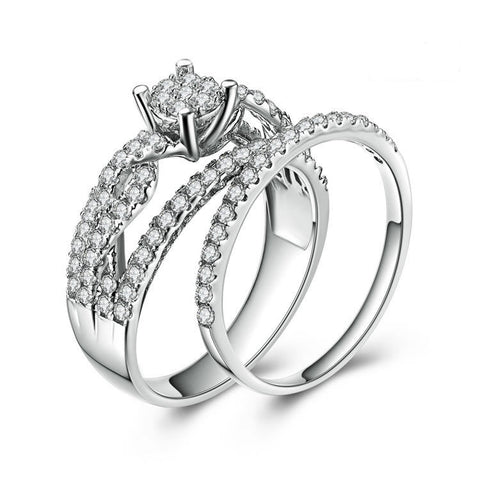 Pompous Zircon StRing Interweaving 925 Sterling Silver Double Rings