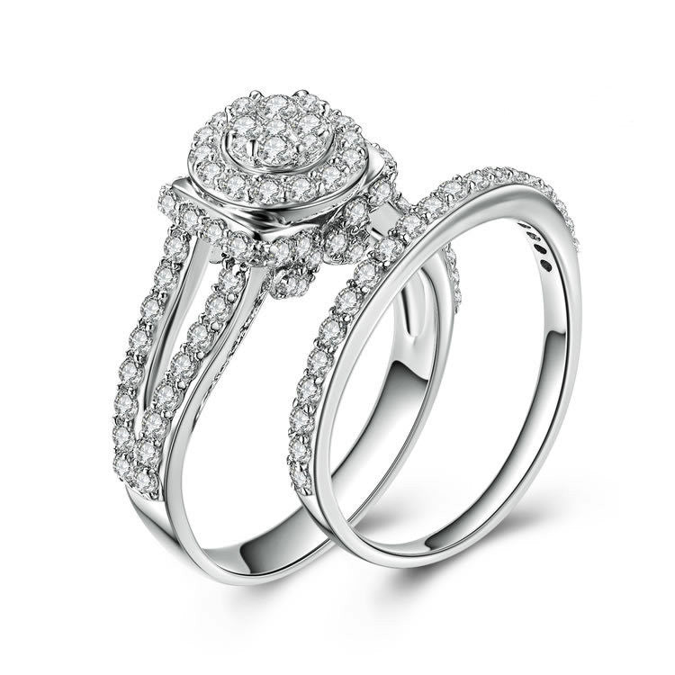 Fashion Round and Twin-rows Pattern 925 Sterling Double Rings