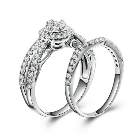 Classic Sun Pattern With Double Zircon StRing 925 Sterling Silver Double Rings