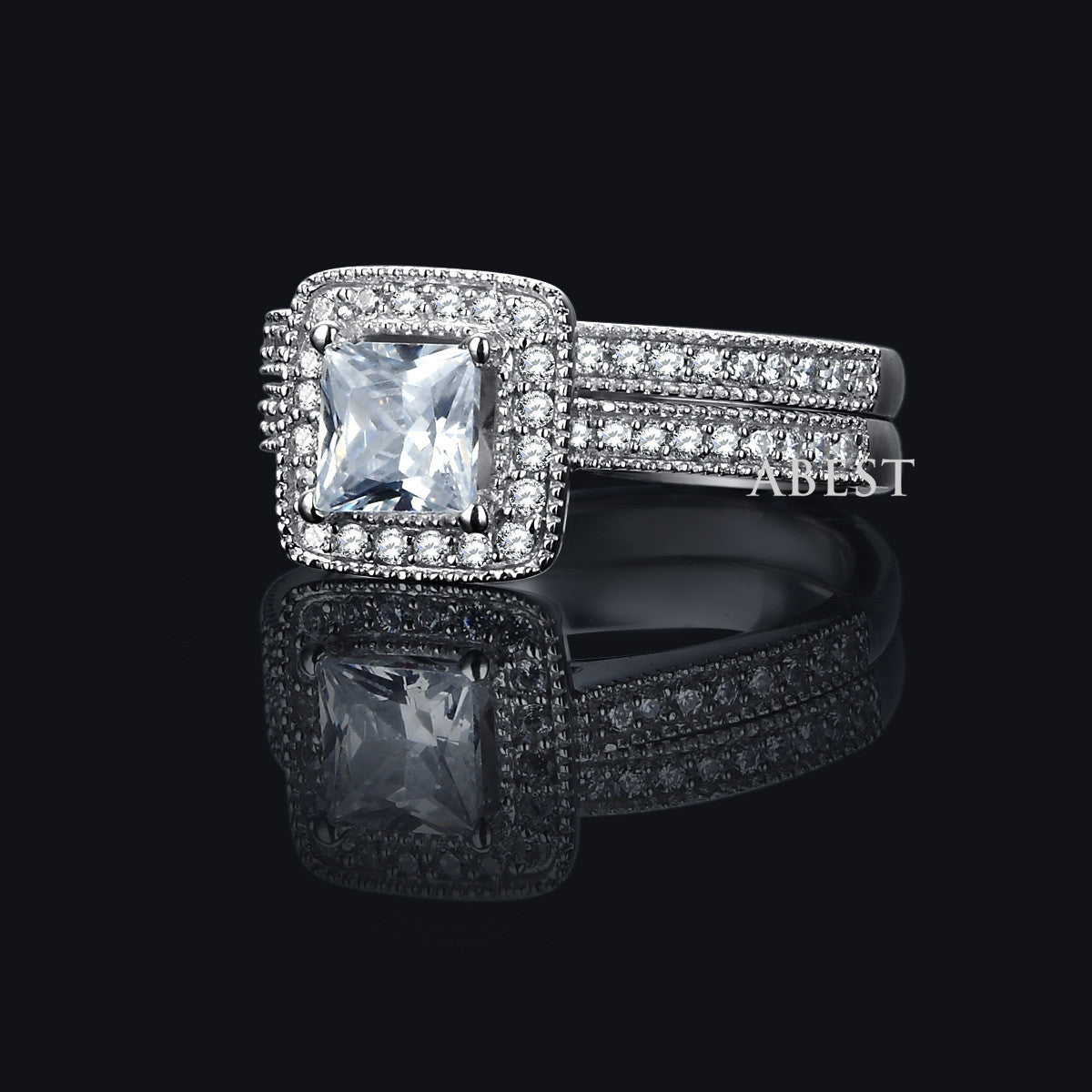 Simple Square Pattern 925 Sterlilng Silver Ring With Zircon Twin-rows