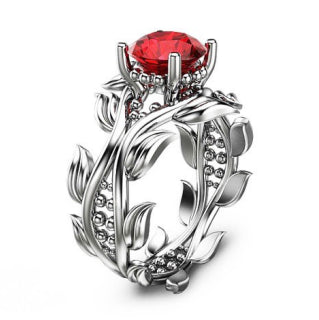 Leaf Ring White Gold Plared Ruby 925 Sterling Silver Engagement