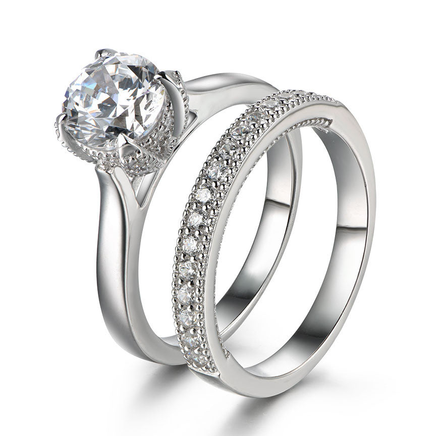 Special Milgrain Created White Sapphire 925 Sterling Silver Wedding Ring Set