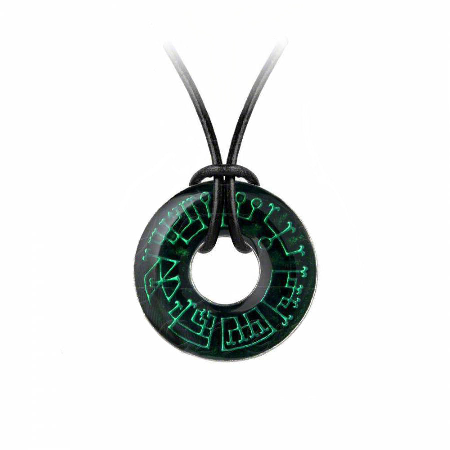 Seven Angels Pattern Transparent Green Enamel Pendant Necklace