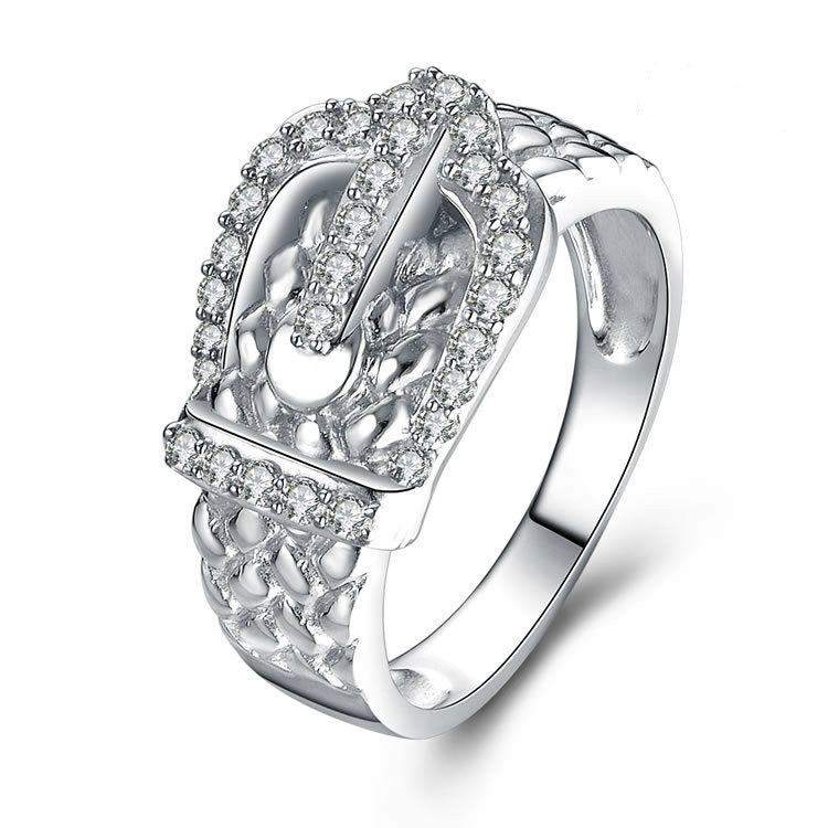 Fashion Buckle Pattern 925 Sterling Silver Ring With Zircons
