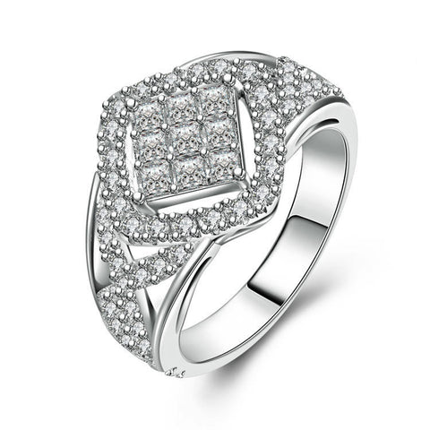 Luxury Diamond Pattern With Double String Zircons Interweaving 925 Sterling Silver Statement Ring