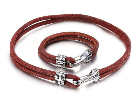 Brown Cowhide Men's Bracelet with Stainless Steel Buckle