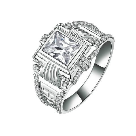 Classic Square Pattern Hollowed 925  Sterling Silver Men's Ring