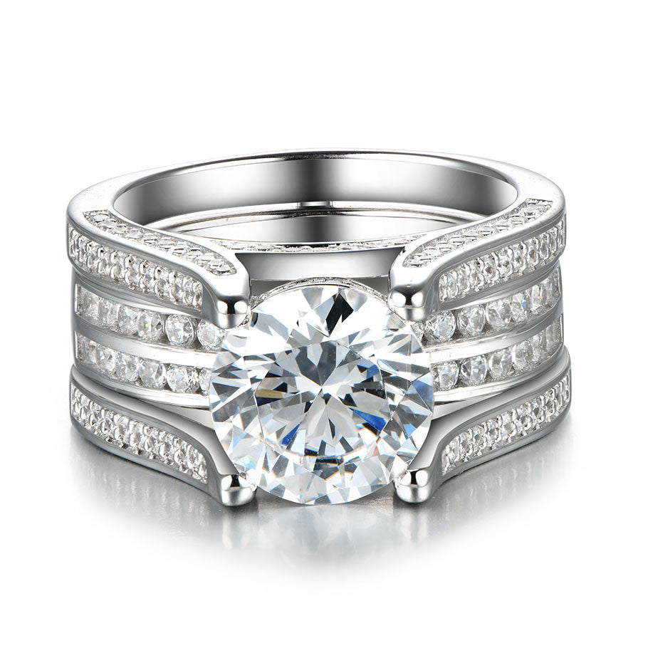 Attirant Dazzling Interchangeable Created White Sapphire 925 Sterling Silver Wedding  Ring Set