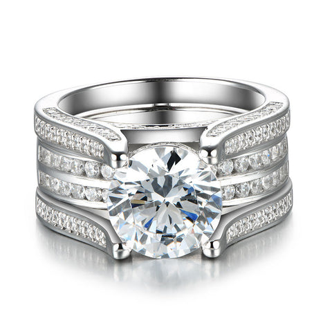 Dazzling Interchangeable Created White Sapphire 925 Sterling Silver Wedding Ring Set
