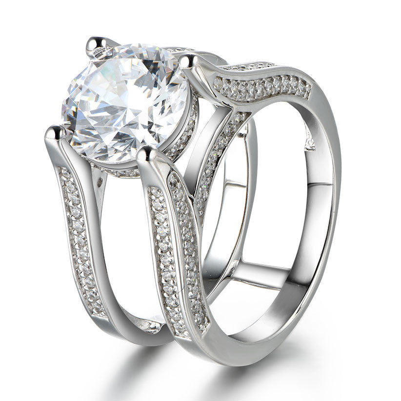 ... Dazzling Interchangeable Created White Sapphire 925 Sterling Silver  Wedding Ring Set ...