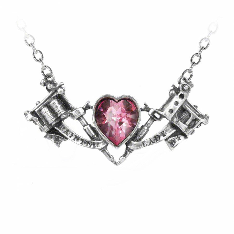 Twin tattoo guns and crystal pink heart pendant necklace evermarker twin tattoo guns and crystal pink heart pendant necklace aloadofball Image collections