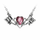 Twin Tattoo Guns and Crystal Pink Heart Pendant Necklace