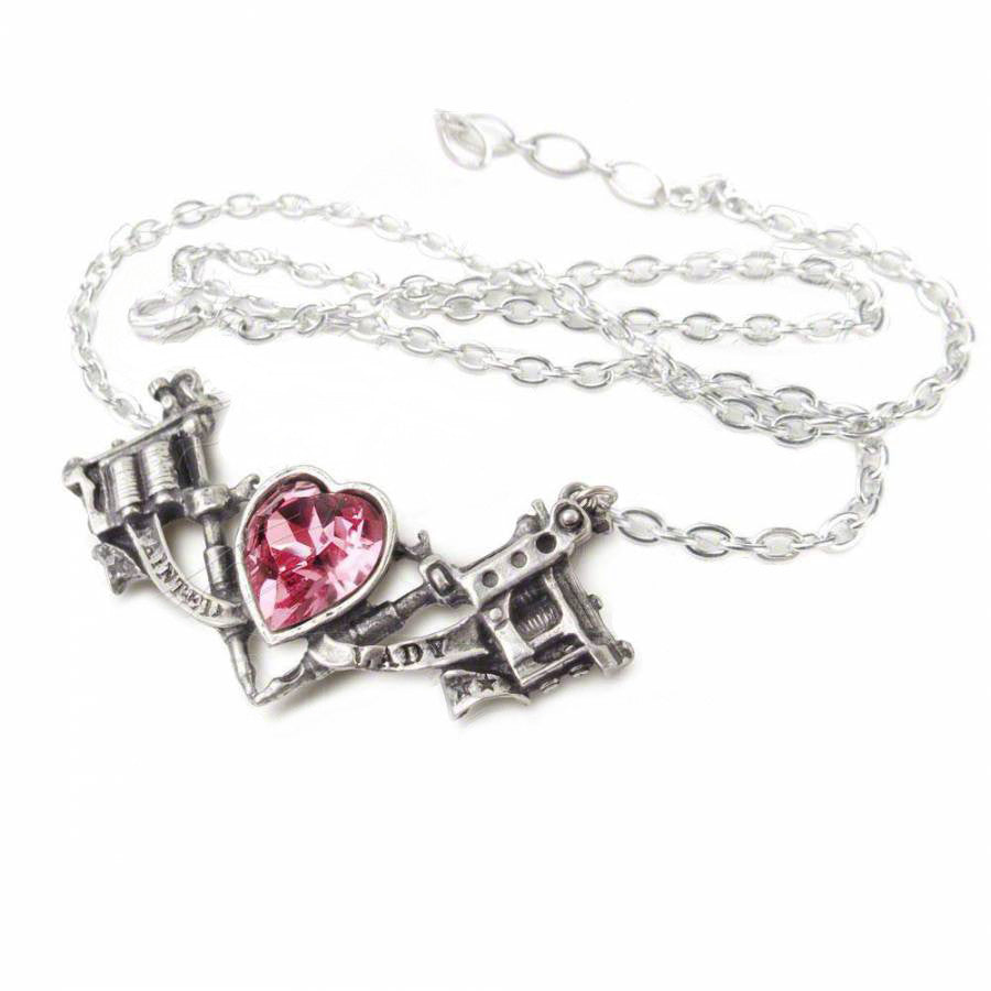 Twin tattoo guns and crystal pink heart pendant necklace evermarker twin tattoo guns and crystal pink heart pendant necklace mozeypictures Gallery