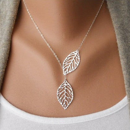 Simple Two Leaves Women Necklace