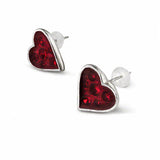 Red Enamelled Pewter Heart Cut Crystal Stud Earrings