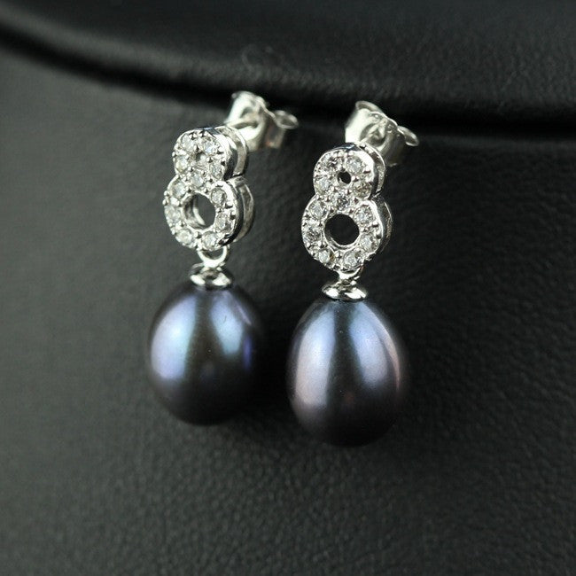 Women Elegant Oval Lucky Number Earring With Pearl And Zircon Gems