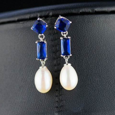 925 Sterling Silver Blue Crystal Natural Pearl Drop Earrings