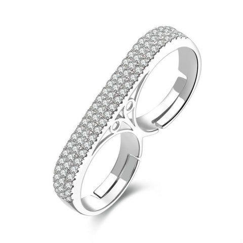 Fashion Connecting Double Rings With Zircons Decorated 925 Sterling Silver Ring